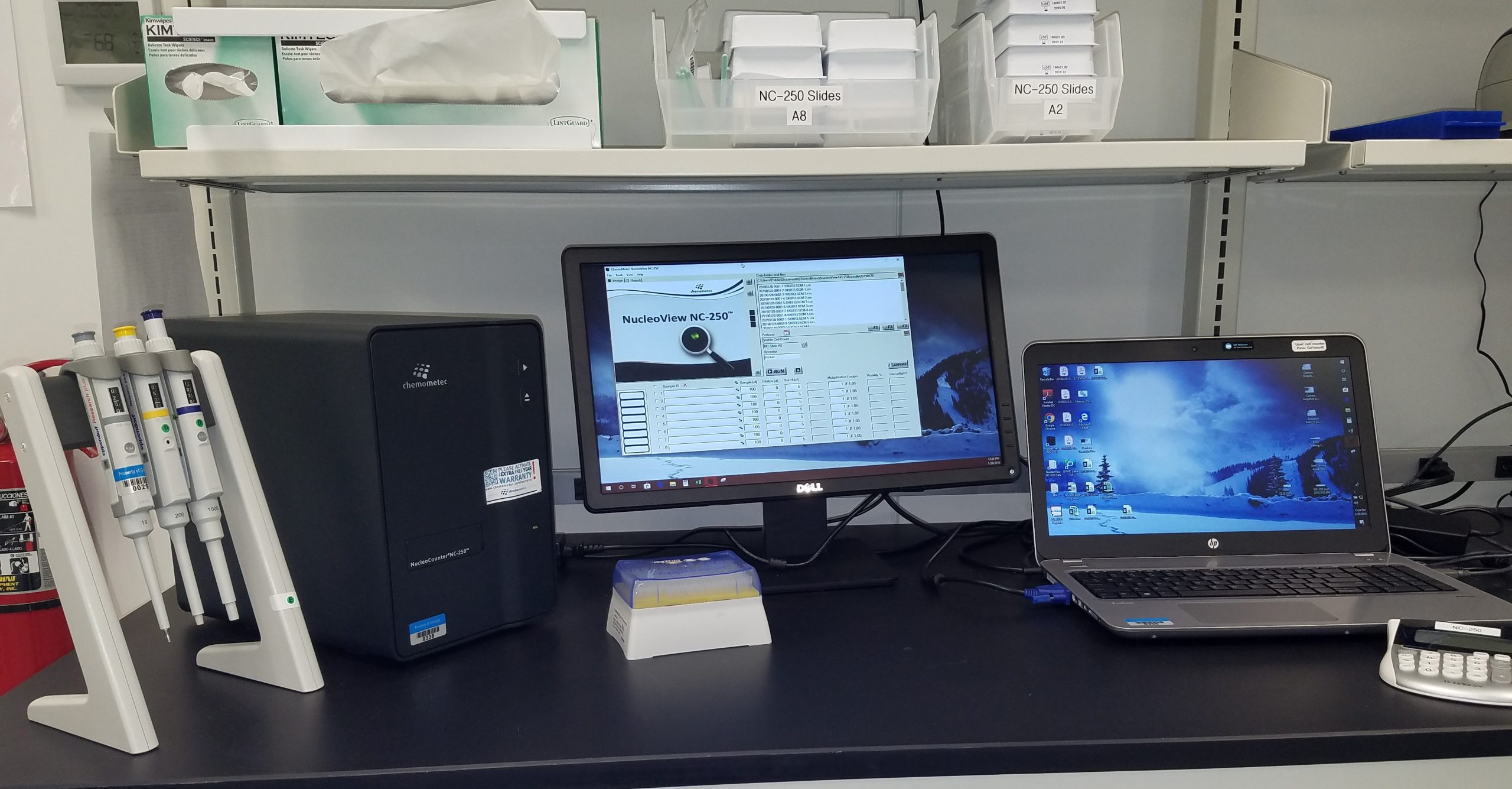NucleoCounter® NC-3000™ cell analyzer at Celcuity on lab desk