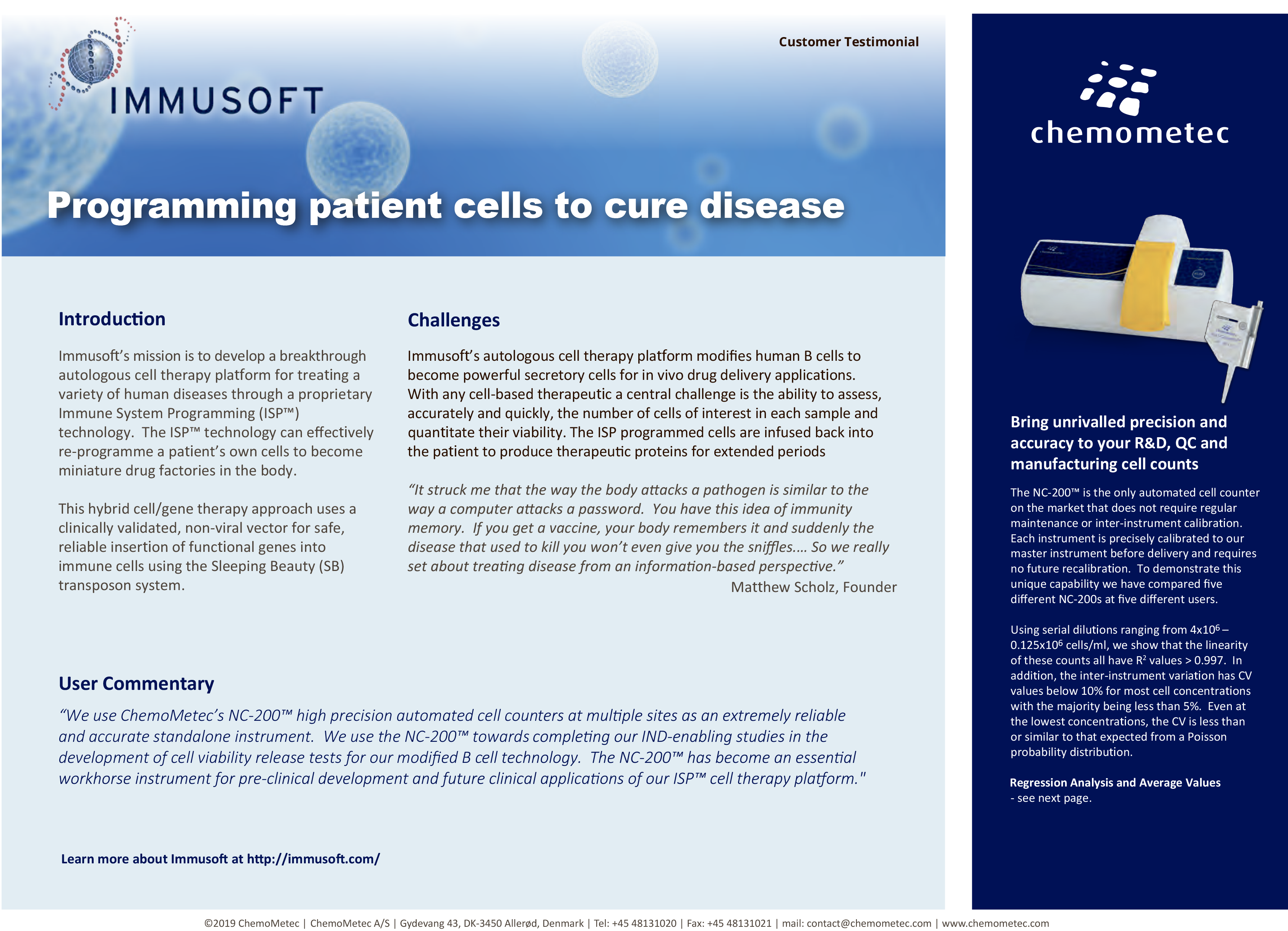 Testimonial of the NucleoCounter® NC-200™ automated cell counter at Immusoft