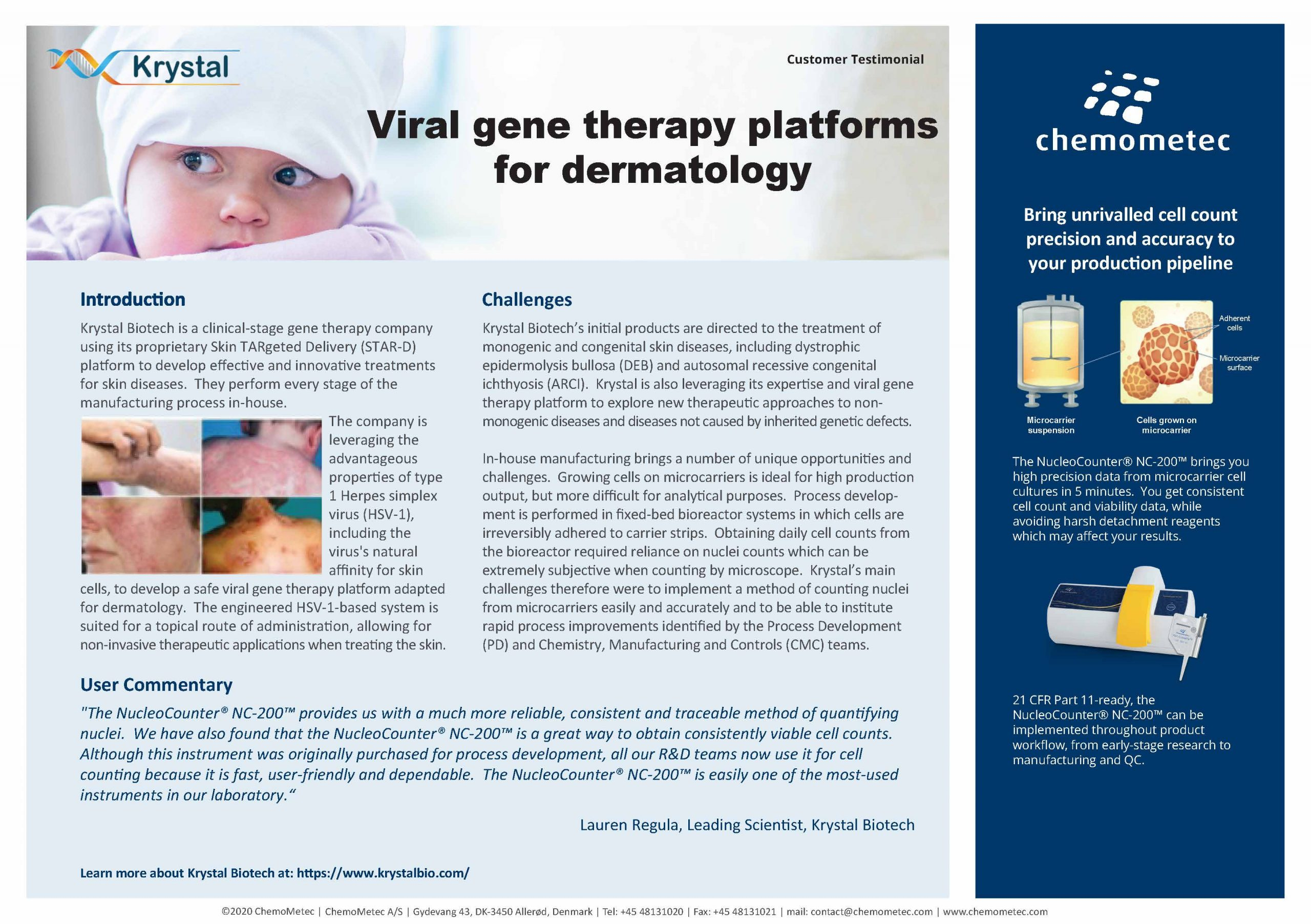 Testimonial of the NucleoCounter® NC-200™ automated cell counter at Krystal for viral gene therapy platforms