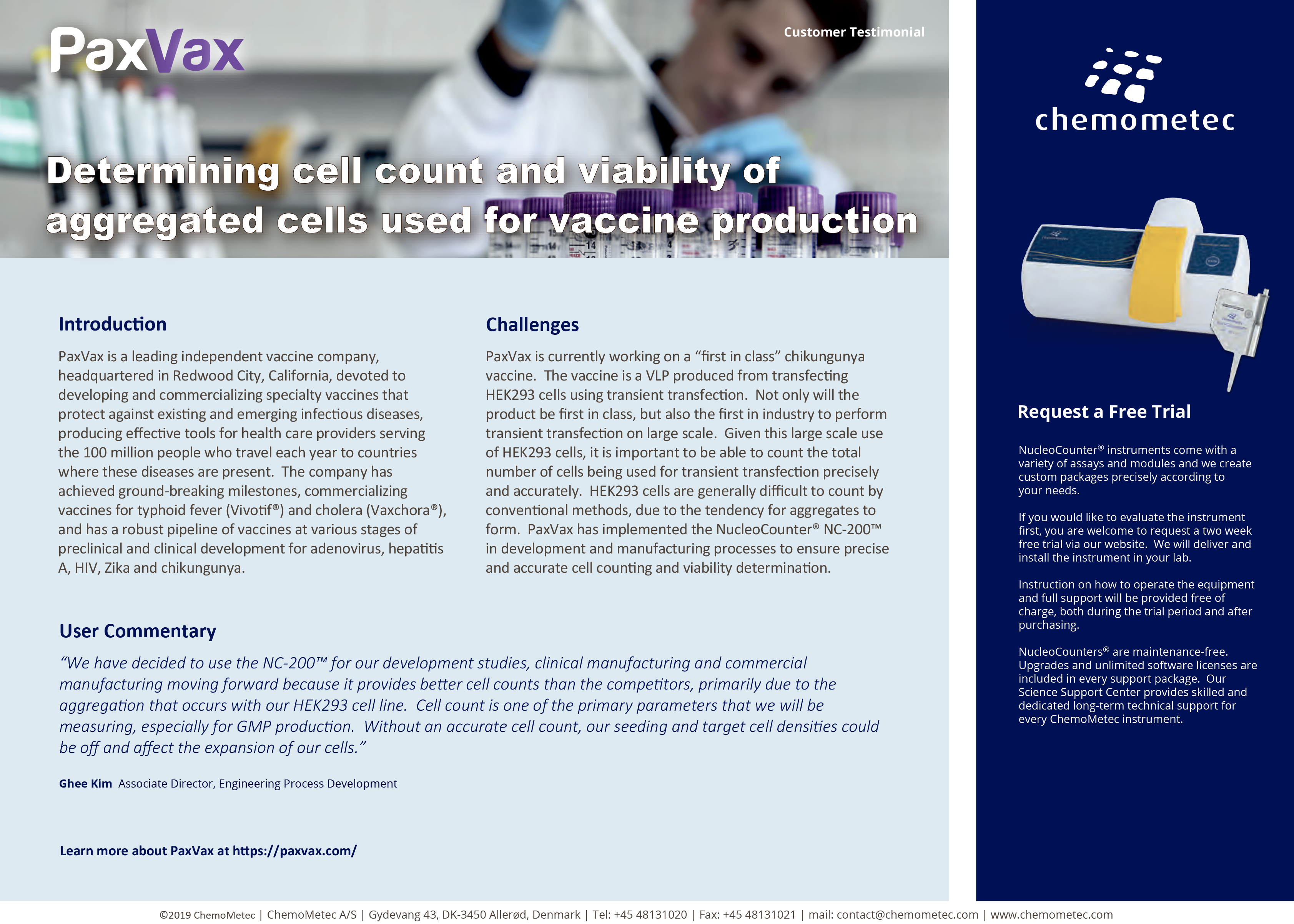 Testimonial of the NucleoCounter® NC-200™ automated cell counter at PaxVax vaccine production